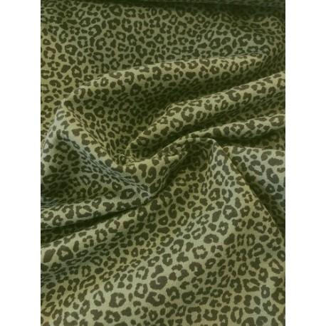 Jersey motif léopard kaki x 50cm