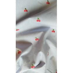 Coton à rayures cerises brodées x 50cm