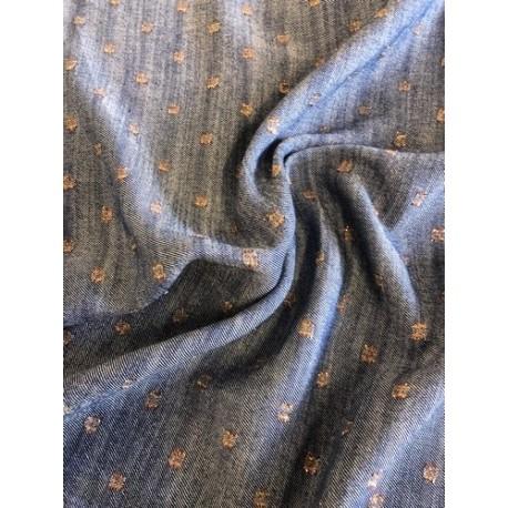 Viscose pois bronze fond bleu jeans x 50cm