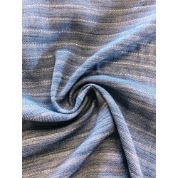 Viscose rayures argent fond bleu jeans x 50cm