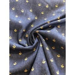 Coton petit motif jeans x 50cm
