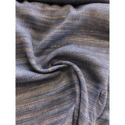 Viscose rayures bronze fond bleu jeans x 50cm