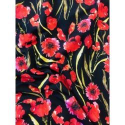 Jersey motif coquelicots x 50cm