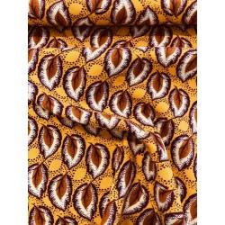 Coton motif feuillage orange x 50cm