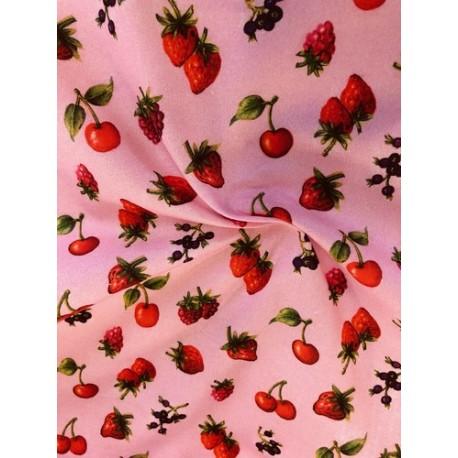 Coton rose motifs fruits x 50cm