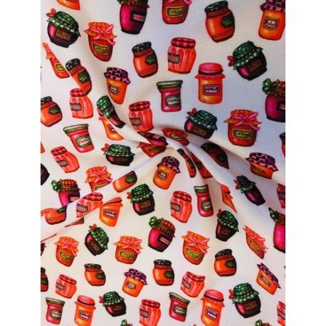Coton motifs pots de confiture x 50cm