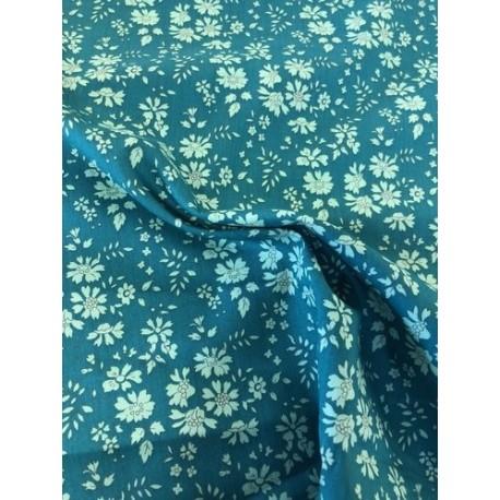 """Tissu liberty """"Capel"""" bleu canard x 50cm"""
