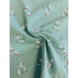 Coton oiseaux des marais vert x 50cm