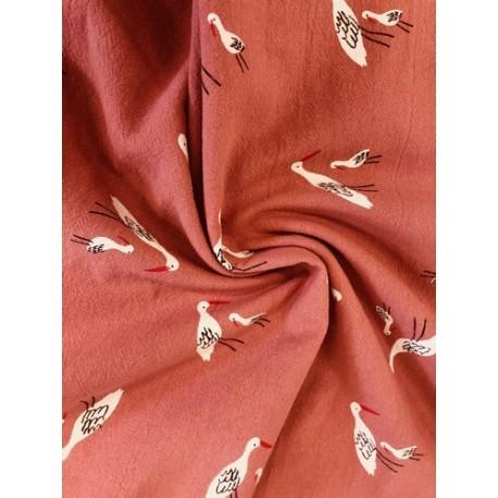 Coton oiseaux des marais rose x 50cm