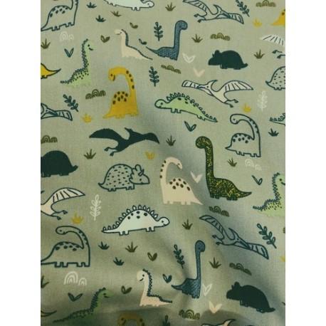 Popeline dinosaures vert x 50cm