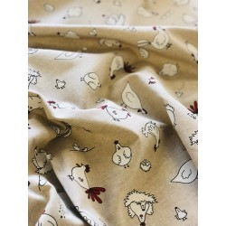 Tissu faux lin poule x 50cm