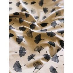 Tissu faux lin fleurs de Ginkgo x 50cm