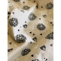 Tissu faux lin lion & ours x 50cm