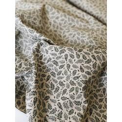 Faux lin motif feuillage x 50cm