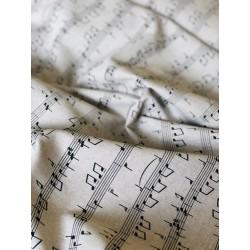 Tissu faux lin partition musique x 50cm