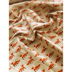 Faux lin motif renard x 50cm