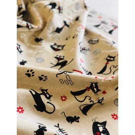 Faux lin motif chats x 50cm