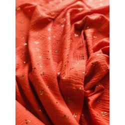 Double gaze de coton motif cerise x 50cm