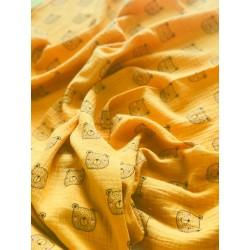 Double gaze de coton ourson fond jaune x 50cm