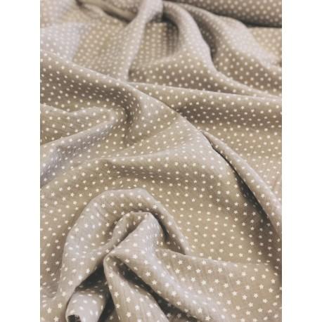 Double gaze de coton étoiles fond gris x 50cm