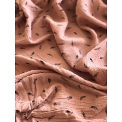 Double gaze de coton motif plumes x 50cm