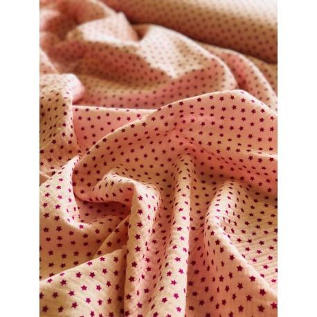 Tissu double gaze rose motif étoiles x 50cm