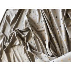 Jersey motif ancre marine fond gris x 50cm