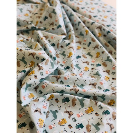 """Coton """"Chatons"""" coloris menthe x 50cm"""