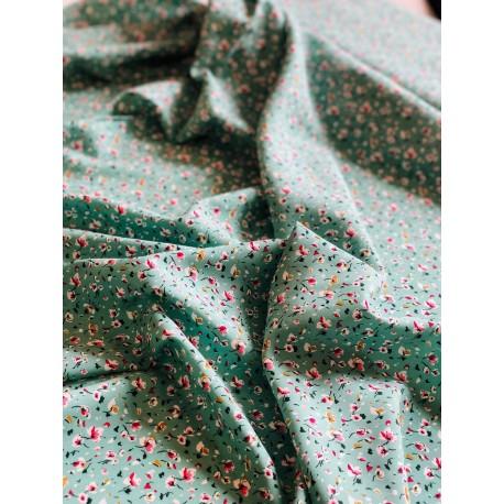 """Viscose """"Greta"""" motif floral menthe x 50cm"""