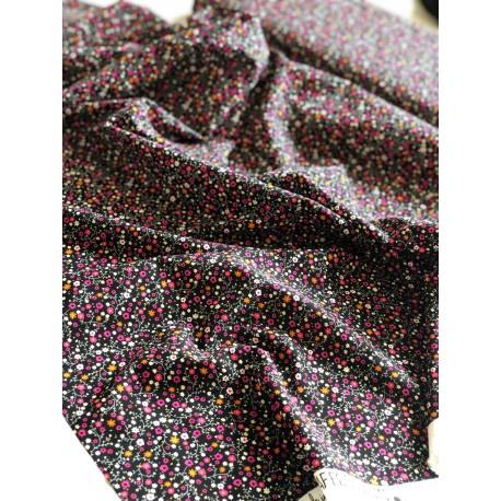"""Viscose """"Anna"""" motif floral noir x 50cm"""