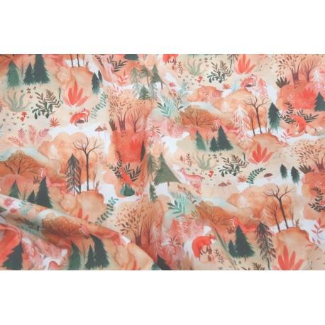 Popeline forêt automnale x 50cm
