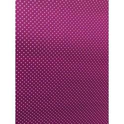 Tissu enduit pois blanc fond violet x 50cm