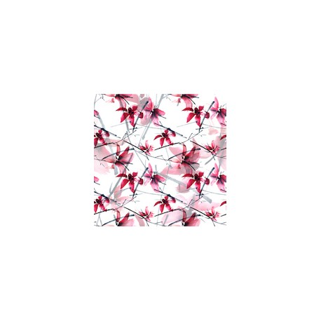 Tissu Velours Fleurs japonaises 100polyester